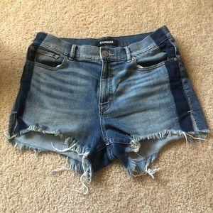 Express EUC Shortie High Rise Blue Jean Shorts 10